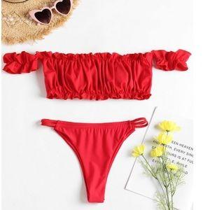 Other - ✨JUST IN✨Frilled Hem Off Shoulder Thong Bikini